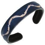 Mens Womens Handmade Leather Blue Waves Cuff Bracelets