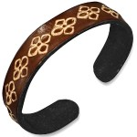 Mens Womens Handmade Leather Brown Flower Cuff Bracelets