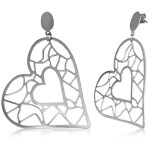 Hypoallergenic Stainless Steel Stud Heart Long Earrings