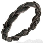 Leather Mens Womens Handmade Black Bracelet Brown Anklet