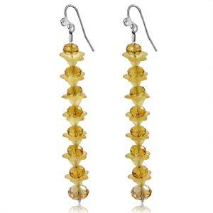 Amber Yellow Crystal Long Earrings