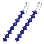 Flower Elegant Dark Blue Crystal Long Earrings