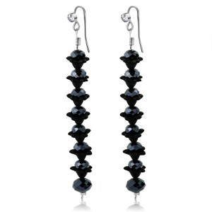 Black Crystal Long Earrings