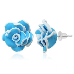 Blue Rose Flower Earrings