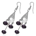 Dangling Elegant Amethyst Purple Crystal Earrings