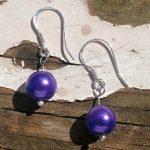 Sterling Silver Earrings Glass Pearl Deep Purple Beads .925