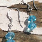 Sterling Silver Earrings Crystal Faceted Light Blue Beads .925