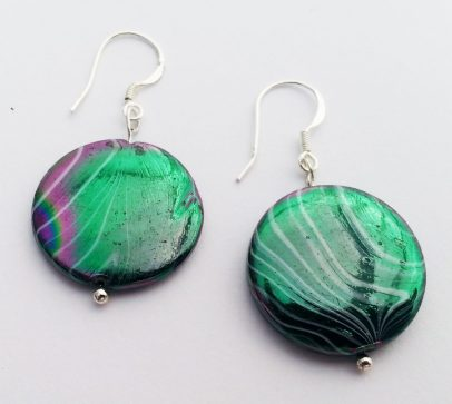 Sterling Silver Earrings Glass Multi Coloured Disc Beads .925