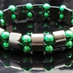 Hematite Gem Acrylic Beaded Stretch Bracelet Bangle Dark Green