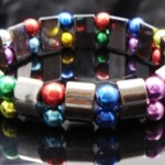 Hematite Gem Acrylic Beaded Stretch Bracelet Bangle Multi