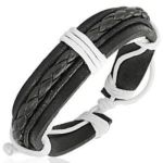 Leather Cord Mens Womens Handmade Bracelet Black NEW