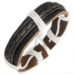 Leather Mens Womens Handmade Bracelet Bangle BLACK NEW