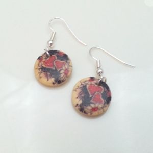 Light-Wooden-Jewellery-Earrings-Disc-Round-Wood-Red-Black-Hearts-Flowers-New-400739824173-2