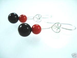 STERLING-SILVER-925-CORAL-ONYX-BEADED-GEM-EARRINGS-NEW-400091507511