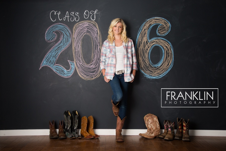 spokane senior photographer chalkboard wall cowboy boots