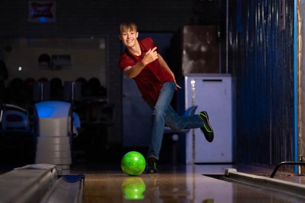 Bowling senior photo of guy