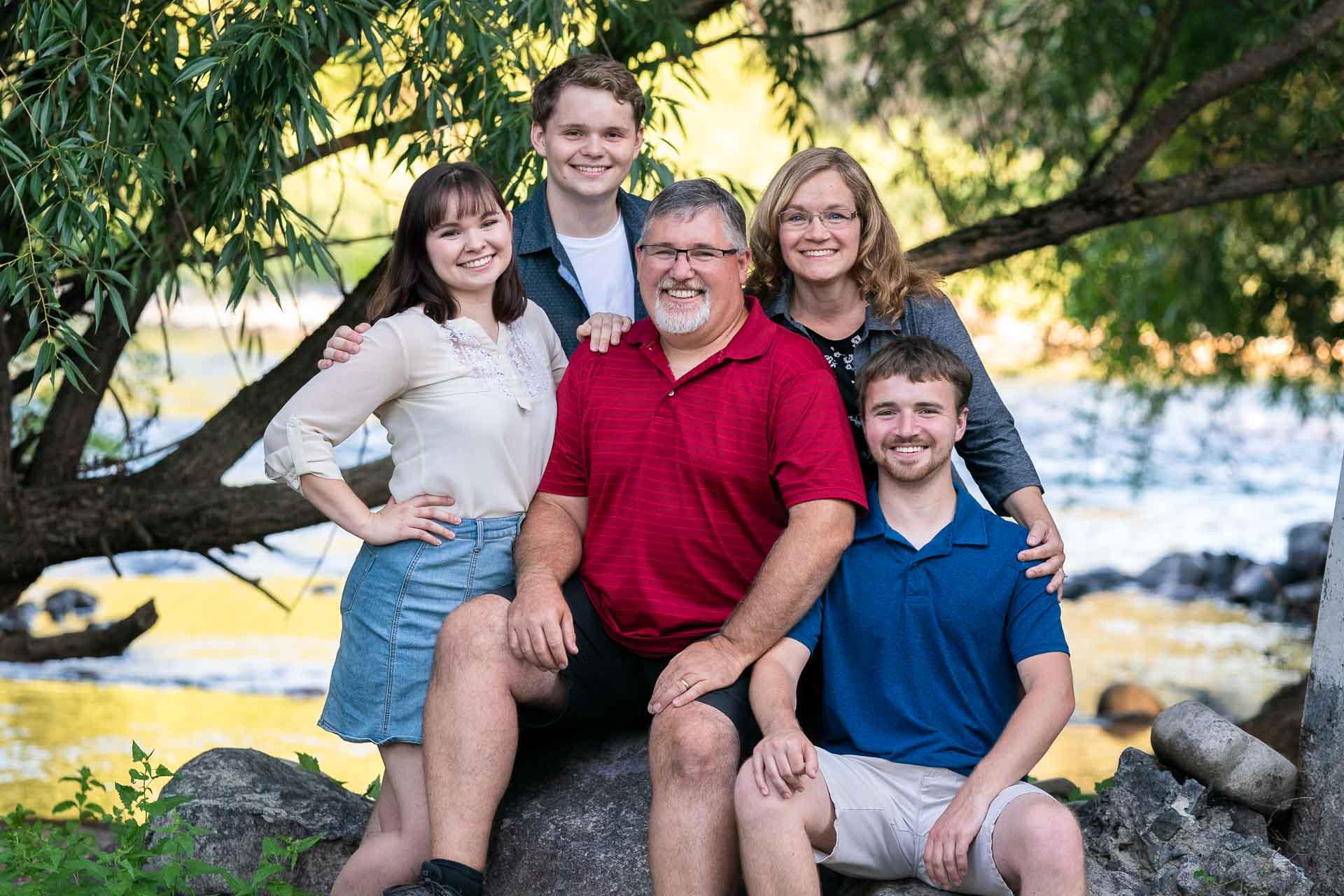 Family photo taken on the Spokane River