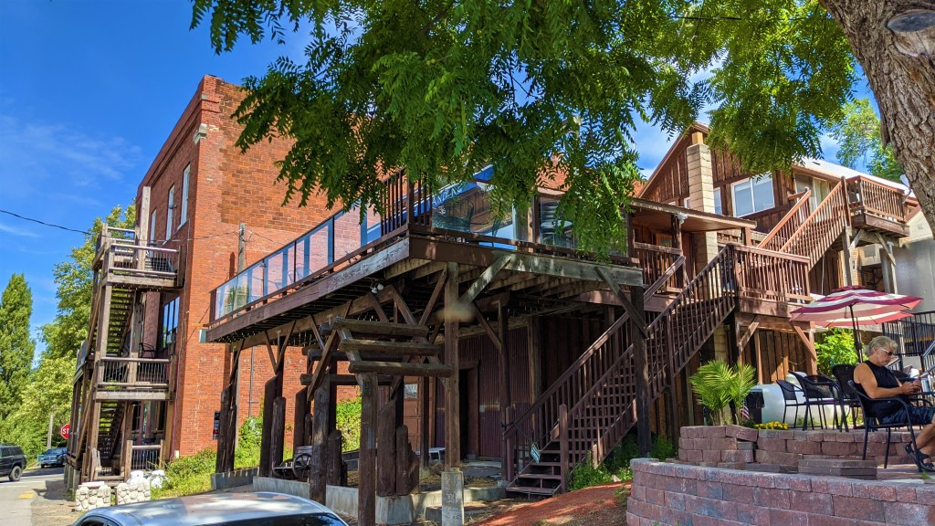 Structures in downtown Harrison open up to main street and Lake Coeur d'Alene