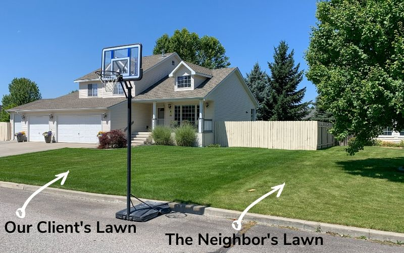 A photo comparing the lawn of a Spokane's Finest Lawns client to their neighbors lawn. The lawn services by Spokane's Finest Lawns is in noticeably better condition.