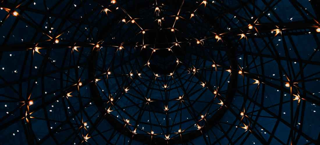 dome with lights at dark night