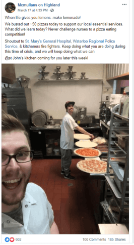 A Facebook post of Ian McMullan making pizza.