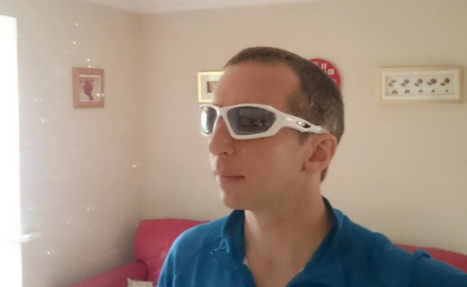 Wearing sunglasses indoors!