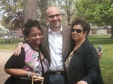 Minneapolis Park Commissioner Brad Bourn with Graphic Artist Shalette Cauley-Wandrick (l) and Concept Artist Esther Osayande.