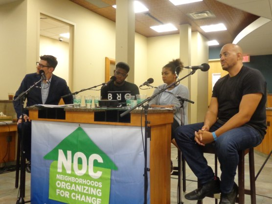 MPR taped a broadcast from temporary offices of Neighborhoods Organizing for Change. (l-r) Tom Weber, Michael McDowell, Mica Grimm and Anthony Newby