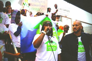 NOC rally with workers on September 23, (front row (l-r) Sondra Jones and Anthony Newby