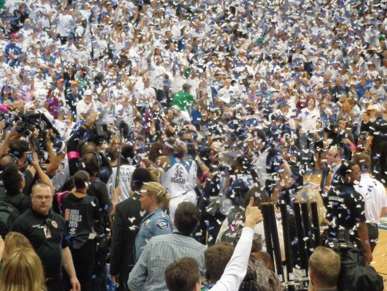 The Lynx celebrating their third final championship