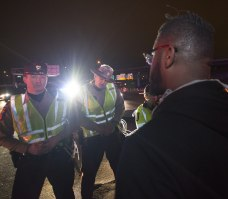 Stand off between state troopers and protesters