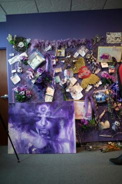 A collection of tributes left from fans at Paisley Park in the aftermath of the artist's death.