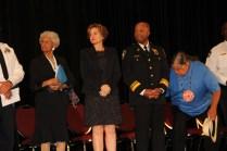 (l-r) Josie Johnson, Mayor Betsy Hodges, Chief Arradondo and Clyde Bellecourt
