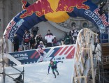 Athletes competing in the Red Bull Crashed Ice event in Saint Paul, Minnesota go through practice runs to prepare for time trials and events on Friday and Saturday.