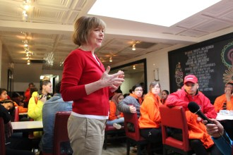 Senator Tina Smith addresses students