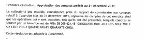 Adoption des comptes 2011 au 21 juin 2012 après lecture du rapport des comissaires aux comptes