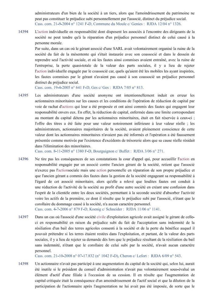 action individuelle en responsabilité des dirigeants Editions Francis Lefebvre Page4 - Définition de l'action individuelle de RANARISON Tsilavo pour bénéficier des intérêts civils d'après les Editions Francis Lefebvre