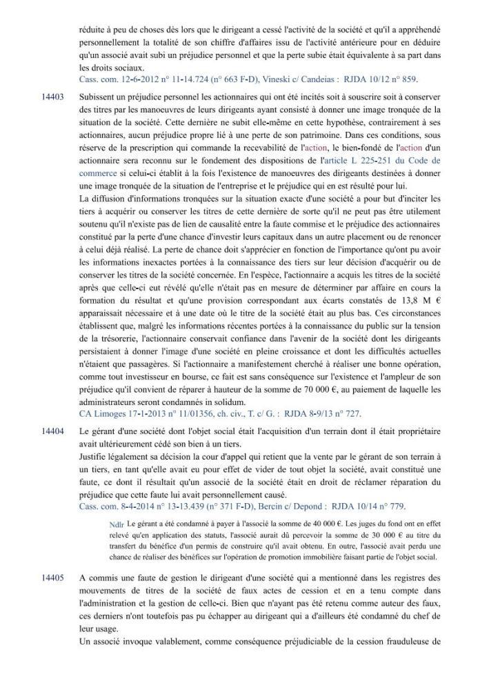 action individuelle en responsabilité des dirigeants Editions Francis Lefebvre Page6 - Définition de l'action individuelle de RANARISON Tsilavo pour bénéficier des intérêts civils d'après les Editions Francis Lefebvre