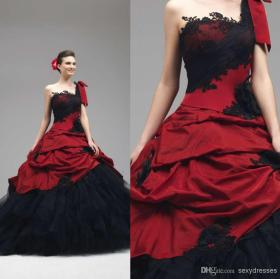 201520ball20gown20lace20appliques20gothic20wedding20dresses20one-shoulder20neckline20sleeveless20backless20red20and20black20beach20201420bridal20gowns