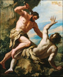 Italian Baroque Painting of the Killing of Abel and the Banishment of Cain --- Image by © Geoffrey Clements/CORBIS ORG XMIT: 12873731