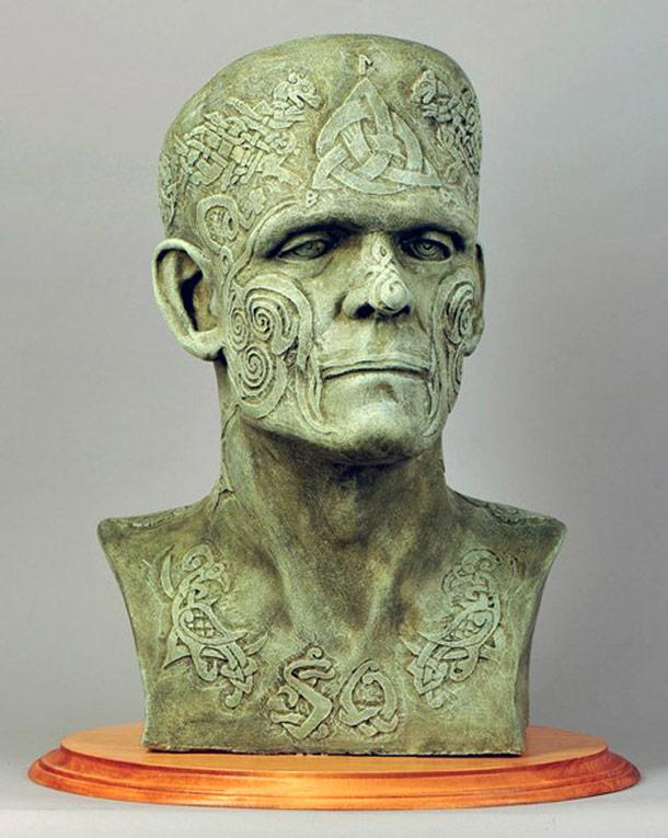 80 artists get a bust of Frankenstein's monster.