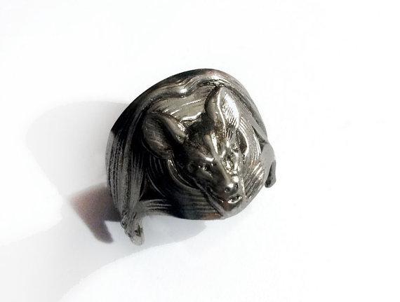 Gunmetal Bat Ring