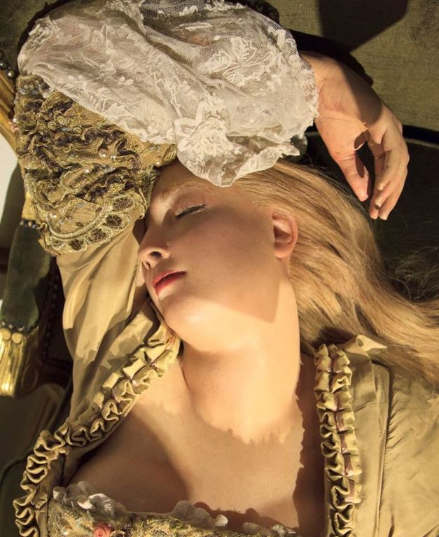 Wax Sleeping Beauty gently breathes. Click through and watch vid.