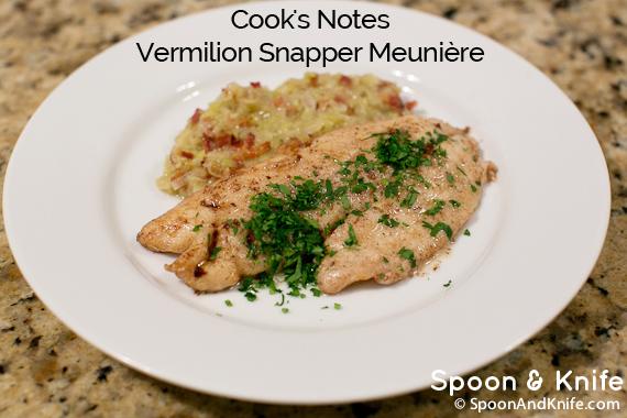 Cook's Notes - Vermilion Snapper Meuniere gluten-free recipe
