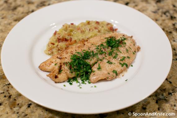 Recipe: Vermilion Snapper Meunière with Leeks in Bacon Vinaigrette