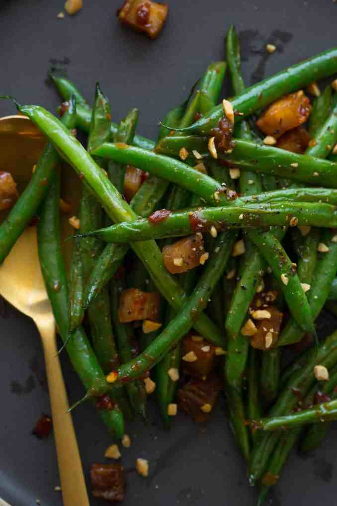 Asian Style Green Beans with Crispy Pork Belly | Spoon