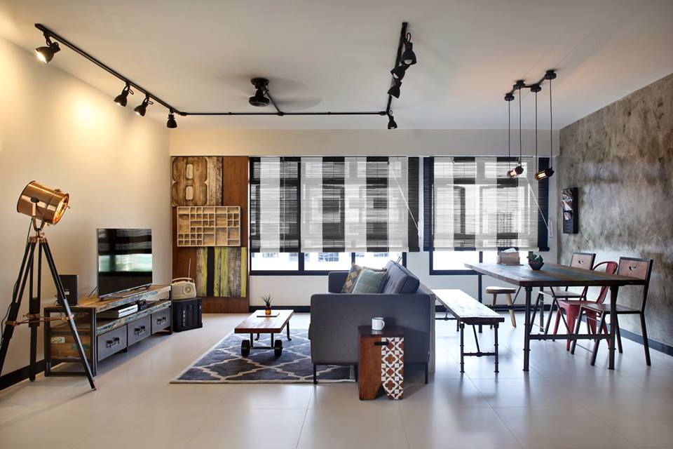 An Industrial And Eclectic Look For A 5 Room HDB Flat By