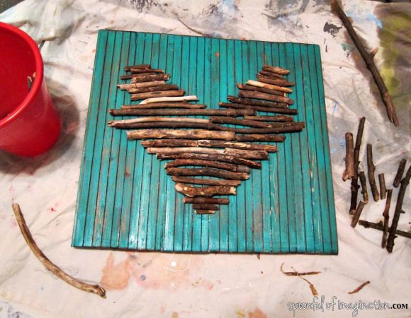 making a heart of sticks