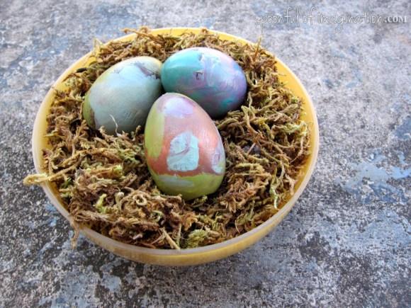 painted wood eggs