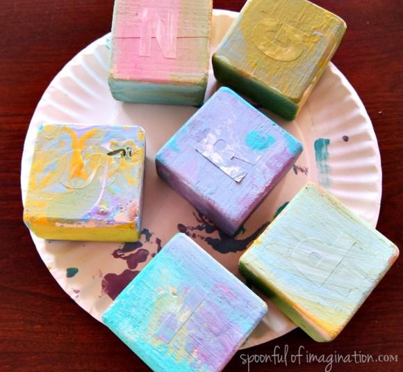 painting lettered blocks